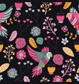 seamless pattern bird pink floral wallpaper decora vector image