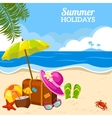 Summer seaside view on the beach poster vector image