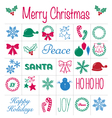 Christmas Icons design elements and text set vector image vector image