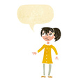 cartoon worried girl with speech bubble vector image