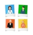 Four polaroid instant photos with flat portraits vector image