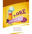 Cocktail bar poster template Summer party vector image