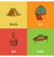 Mexican National Symbols Icons Set vector image