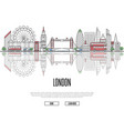 travel tour to london poster in linear style vector image