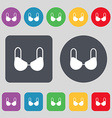 brassiere top icon sign A set of 12 colored vector image