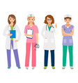 young female doctor and nurse characters vector image