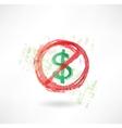 ban dollar grunge icon vector image