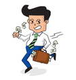 Businessman Holding A Fully Money Briefcase vector image vector image