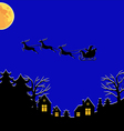 santa fly moon vector image