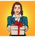 Business woman with gift box vector image