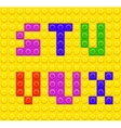Lego blocks alphabet 4 vector image