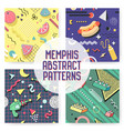 memphis seamless pattern set abstract trendy vector image