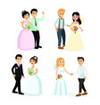 set of happy cute wedding vector image