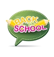 Back to school label on green speech bubble vector image
