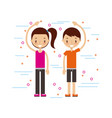 happy man and woman in casual clothing waving hi vector image