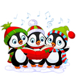 Christmas carolers penguins vector image vector image