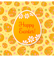 Easter card with orange paper egg vector image