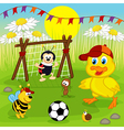 duckling and insects play football vector image vector image