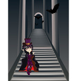 Gothic Stairs and Witch5 vector image