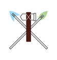 antique arrows and ax isolated icon vector image