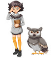 girl in gray outfit and cute owl vector image