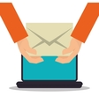 hand hold envelope email laptop vector image