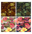 military seamless pattern set with tropical birds vector image
