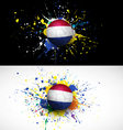 Netherlands flag with soccer ball dash on colorful vector image