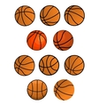 Set of orange rubber basketball balls vector image