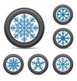 winter tire snowflake rim vector image