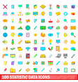 100 statistic data icons set cartoon style vector image