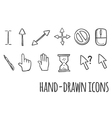 Mouse click hand drawn icons vector image