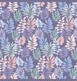 tender violet and rosy color tropical leaves vector image