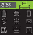 office line icons set outline symbol vector image