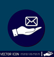 hand holding a postal envelope e-mail symbol icon vector image