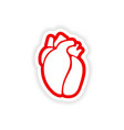 paper sticker on white background human heart vector image
