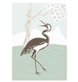 crane looking up with tree vector image
