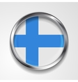 Abstract button with metallic frame Finnish flag vector image