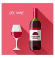 Bottle and glass of red wine in flat design style vector image
