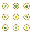 green leaf icons set cartoon style vector image