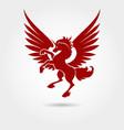 red heraldic unicorn silhouette vector image