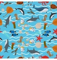 Sea animals seamless pattern with waves vector image