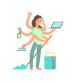 super mom concept stressed mother in vector image