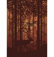 Autumn Forest Landscape and Deer vector image
