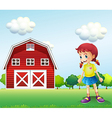 A little girl in the barn vector image
