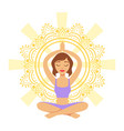 meditating yogi girl in yoga lotus pose colorful vector image
