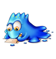 A blue monster writing vector image vector image