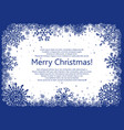 blue christmas frame with snowflakes vector image vector image