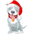 Christmas Pit Bull Dog vector image vector image