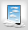 Tablet PC Computer with Clouds and Blue Sky vector image